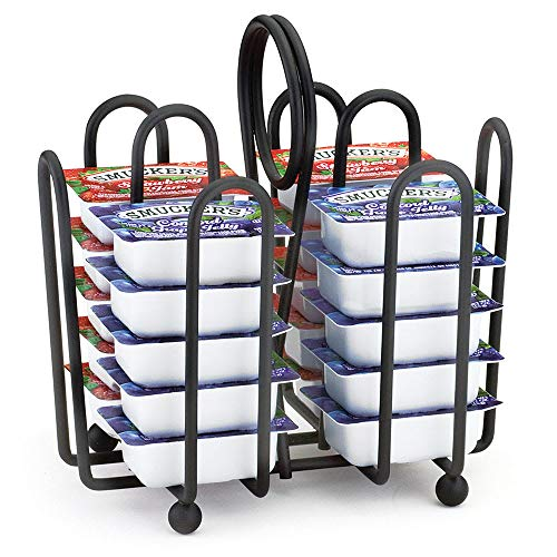 Tablecraft 597CBK Black Metal Jelly Packet Rack, Fits Packets Up To 2 x 1-1/2