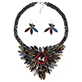 Baroque Hidden Floral Multicolor Glass Necklace and Earring Jewelry Set