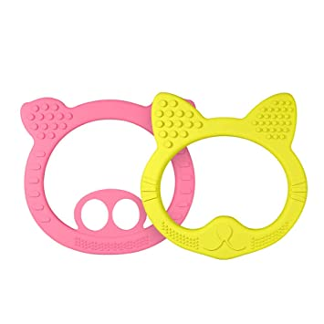 Toddler Baby Silicone Bear Shape Teether Teething Toy Ring Chewable Soother New