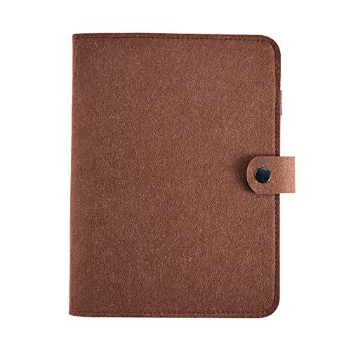 A5 Binder,Journal refillable Notebook Binder,6 Ring Personal Planner Binder Soft Wool Felt Notebook Cover-POLATU(A5 9 x 6.69'' Brown)