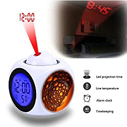 Projection Alarm Clock Wake Up Bedroom with Data and Temperature Display Talking Function, LED Wall/Ceiling Projection,Customize the pattern-046.Ball, Liquid, Bubble, Blow