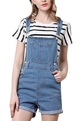 Women's Cute Denim Shorts Distressed Cowboy Jumpsuit Jeans Bid Overall Shortalls