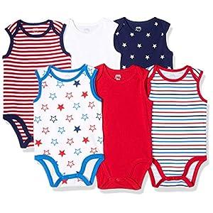 Amazon Essentials Girls' Infant 6-Pack Sleeveless Bodysuits
