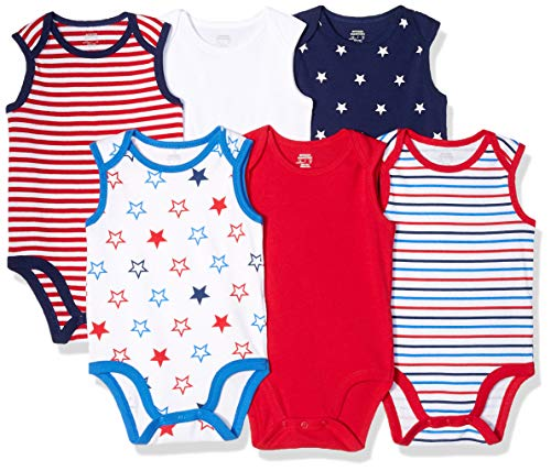 Amazon Essentials Baby 6-Pack Sleeveless Bodysuits, Uni Americana, 18M
