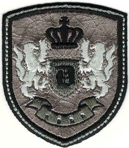 Silver Black Rampant Lion Crown Coat of Arms Crest Letter D Embroidery Patch - Crown Crest Embroidery