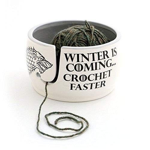 - Game of Thrones CROCHET Yarn Bowl - Winter is Coming Grey Inside