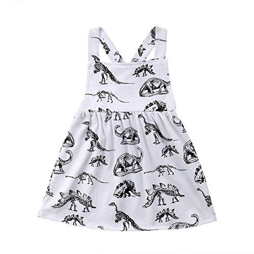 Baby Girls Dino Print Criss Cross Backless Halter Playwear Dress Sundress (White, 2.5-3 Years)