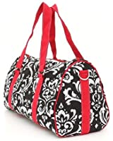 "Belvah Damask Pattern Medium Duffle Bag with Red Highlights (17.5"" / 9.5"" / 7.5"")"