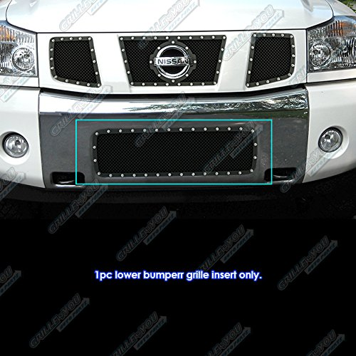 (APS Fits 2004-2007 Nissan Armada/Titan Stainless Black Bumper Mesh Rivet Stud Mesh Grille #NL5413H)