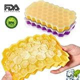Silicone Ice Cube Trays with Lids BPA Free Easy Release Cubes Ice Trays Set of 2 Stackable Flexible Ice Cube Mold Yellow/Purple