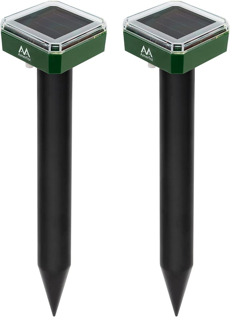 AMERFIST Mole Repellent Solar Powered – Solar Animal Repeller Stakes for Gopher, Moles, Groundhog – IP44 Waterproof Solar Mole Repellent Stakes for Farm, Garden, Lawn(2 Pack)