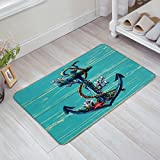 Vintage Nautical Anchor on Blue Grey Rustic Old Barn Wood Doormat Door Mat Rug Outdoor/Indoor ,for Home/Office/Bedroom 18x30inch