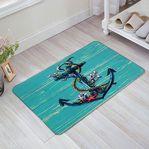 Anchor Coral - Indoor Doormat Welcome Mat Nautical Anchor Coral Starfish Turquoise Teal Wood Board Entrance Shoe Scrap Washable Apartment Office Floor Mats Front Doormats Non-Slip Bedroom Home Kitchen Rug 18