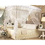 White Four Corner Square Princess Bed Canopy Mosquito Netting (Twin) by IFELES