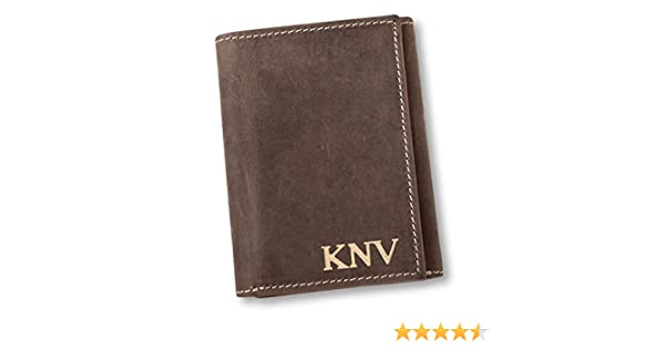 033593258271c Personalized Medium Brown Borello Leather Tri-fold Wallet - Gold at Amazon  Men s Clothing store