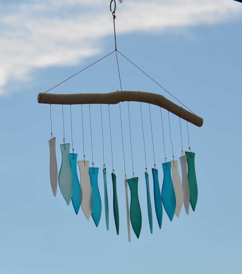 Ocean Frosted Glass Fish Wind Chime Bali