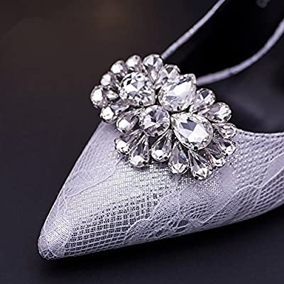 Casualfashion 2Pcs Bling Bling Crystal Rhinestones Wedding Party Prom Shoe Clips Buckles Decorations for Women 1.57×2.44inch