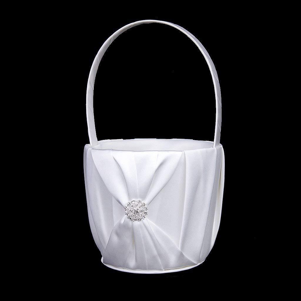 Yevison Premium Quality Fashion Wedding Flower Girl Basket Rhinestone Decor White