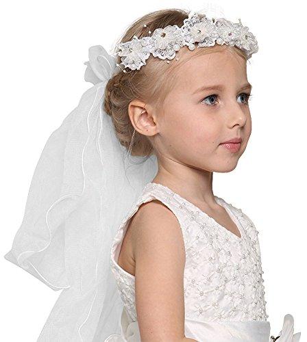 (Bienvenu First Communion Flower Girl Bow Embroidered Wedding Veil Two)