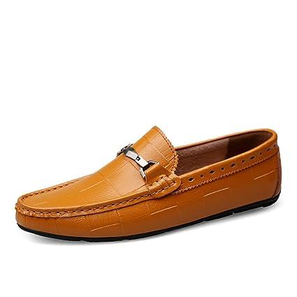 Jiuyue-shoes Mocasines de conducción Informal cómodos de los Hombres Resbalón en Mocasines Calzado de