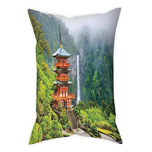 row Pillow Cushion Cover,Home Decor,Far Eastern Temple Surrounding Trees and Fall Foggy Mystical Asian Scene Zen Wall Picture,Green Red,Decorative Square Accent Pillow Case ()