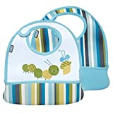 Built 2 Piece Mess Mate Toddler Bib, In Baby Blue Stripe