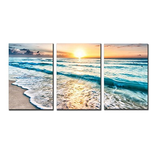 QICAI 3 Panel Canvas Wall Art for Home Decor Blue Sea Sunset White Beach Painting The Picture Print On Canvas Seascape the Pictures For Home Decor Decoration,Ready to Hang - 3 Panel Wall