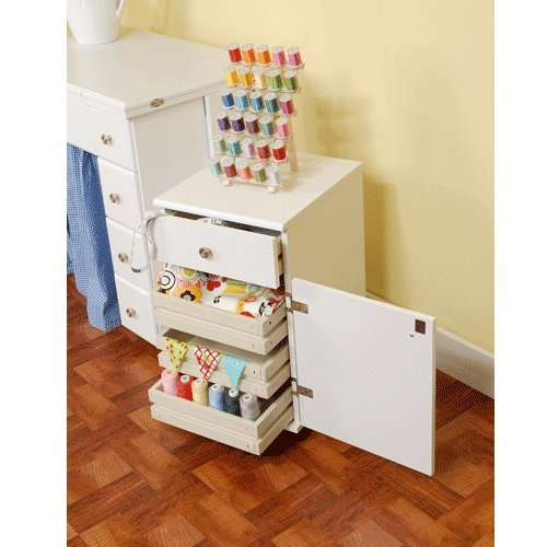 Arrow Sewing Cabinets 801 Suzi, Four Drawer Sewing Storage Cabinent, White
