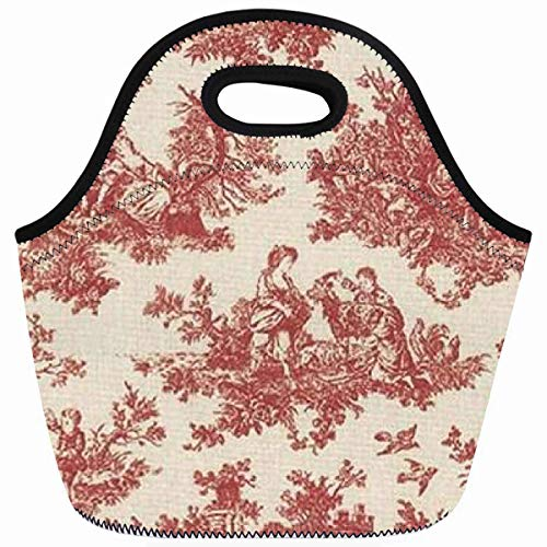Ahawoso Reusable Insulated Lunch Tote Bag Red Vintage Toile Zippered 10X11 Neoprene School Picnic Gourmet Lunchbox