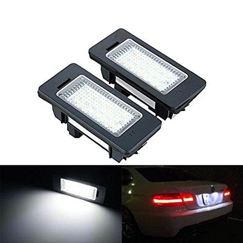 KATUR 12V 1 pair Error Free 18 LEDs Car License Number Plate Light Lamp Bulb For BMW E90 M3 E92 E70 E39 F30 E60 - Number Bmw Plate