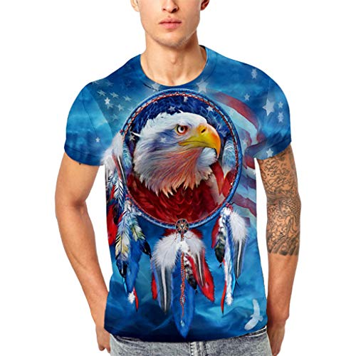 (Simayixx Tops for Men Plus Size, Teens American Flag Blouses Eagle Printed T-Shirt Sweatshirts 3D Print Athletic Pullover Tee)