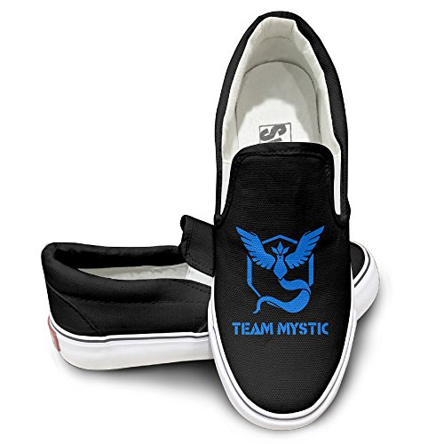 PTCY Pokemon Go TEAM MYSTIC Slip-on Unisex Flat Canvas Shoes Sneaker 40 Black