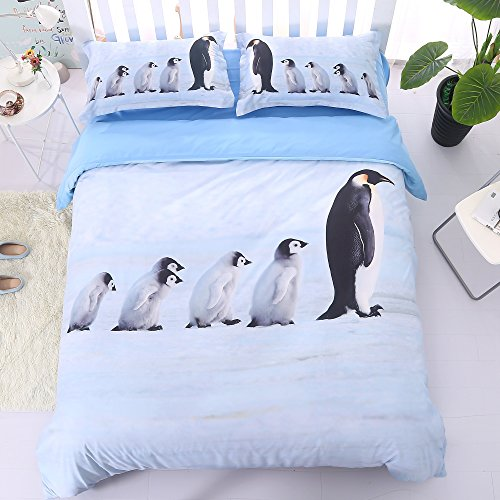 Alicemall 3D Penguin Bedding Set Twin Size A Group of Cute Penguins Print Light Blue 5-Piece Comforter Sets Quilt Set for Kids and Adults, Twin/ Full/ Queen/ King Size (Twin, Light Blue)