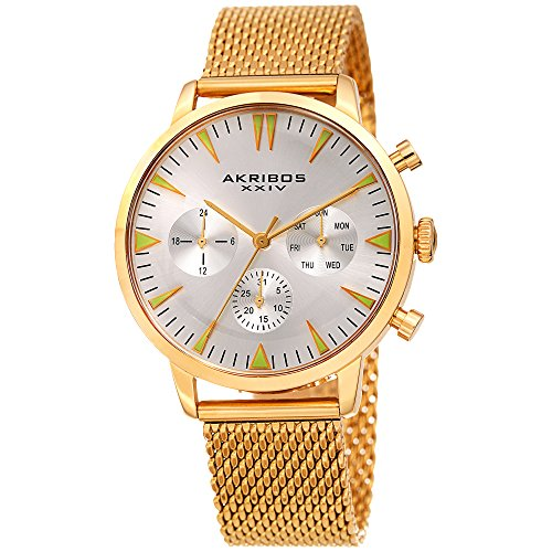 Akribos XXIV Gold and Silver Designer Men's Watch – Multifunction Stainless Steel Mesh Bracelet Wristwatch with Date, Day and 24 Hour Chronograph Sub Dials – AK1027YG