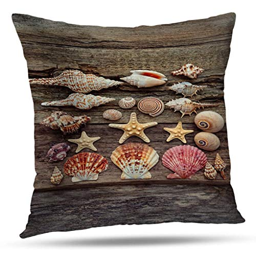(Deronge Wood Starfish Decorative Pillow Covers, Throw Pillow Case Shells Starfish Seashells Wood Seaside Wallpaper Summer 18 x 18 Inch Throw Pillow Covers,Home Decor Couch Sofa Cushion Covers)