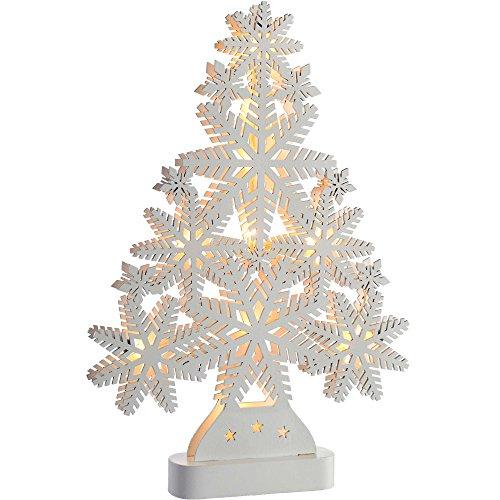 WeRChristmas Pre-Lit Snowflake Tree Table Christmas Decoration, Wood, 39.5 cm - White