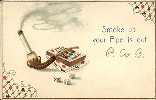 Cigarette in a Pipe with Cards and Dice Casinos & Gambling Original Vintage Postcard from CardCow Vintage Postcards