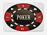 Lunarable Poker Tournament Bath Mat, Casino Chip with Poker Word in Center Rich Icon Card Suits Print, Plush Bathroom Decor Mat with Non Slip Backing, 29.5 W X 17.5 W Inches, Vermilion Army Green