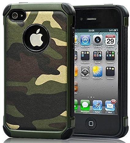 FDTCYDS iPhone 4 Hülle,iPhone 4s Camouflage Hülle,Einfach Slim Fit Schwerlast Schutz Ultra Hybrid Camo Rüstung handys Taschen