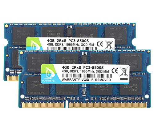 DUOMEIQI New 8GB Kit(2X 4GB) DDR3 2RX8 PC3-8500S 1066MHz 204pin 1.5v SO-DIMM Notebook Laptop Memory RAM Modules with by D DUOMEIQI