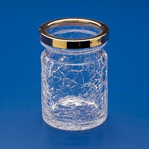 Square Crackled Crystal Glass Toothbrush Holder Finish: Satin Nickel