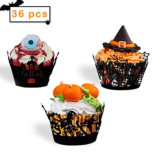 Cupcake Halloween Wrappers Decorations- set of 36- Cupcake Wrappers for Happy Halloween Decoration Spider Skeletons Skull Castle Ghosts Pumpkins Broom Witch