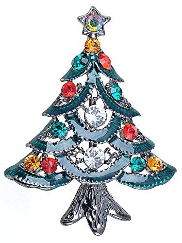 Alilang Merry Christmas Colorful Crystal Rhinestone Green Enamel Holiday Tree Pin Brooch