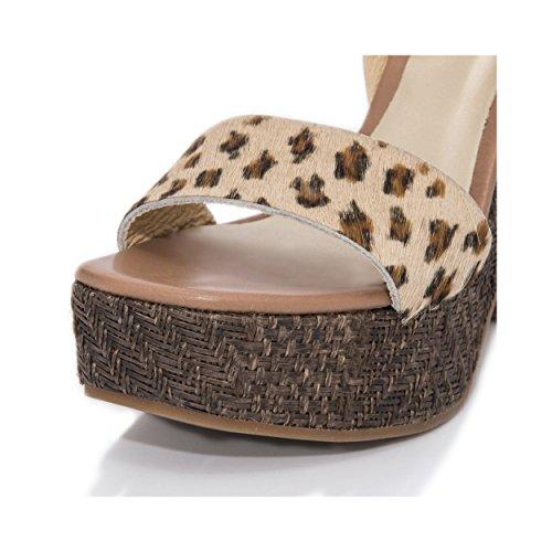 MTBALI Sandalen mit Plateau Alpargata Damen - Modell Kenia Braun