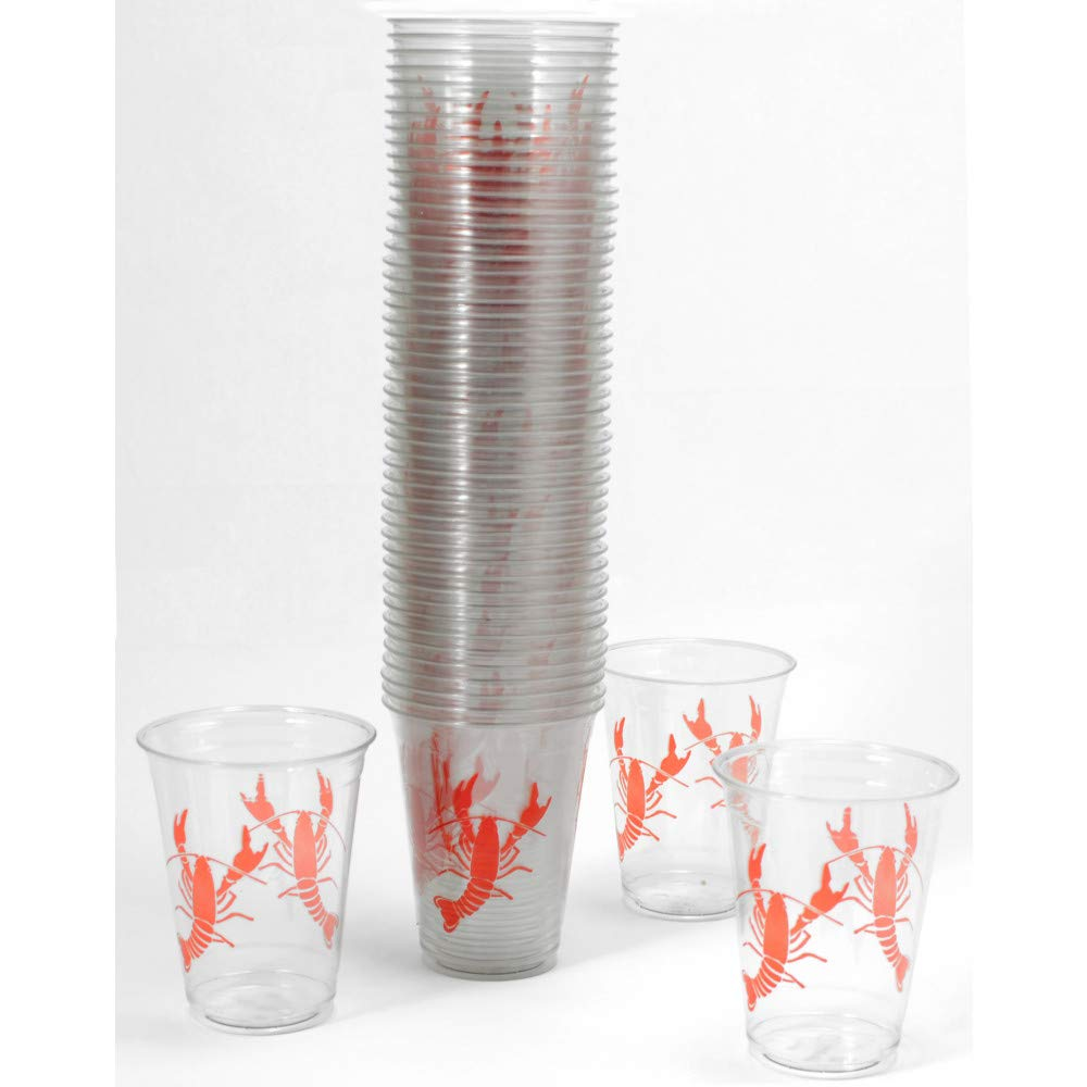 Crawfish Cups - Party Cups - Crawfish Boil Plastic Party Cups - 100 (ONE Hundred) 16oz Solo Cup - Crawfish Boil - Lobster Cup - Lobster Party New Orleans Seafood