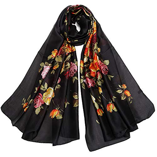 Silk Like Scarf Large Satin Headscarf Fashion Flower Wrap Neck Scarves for Women Black