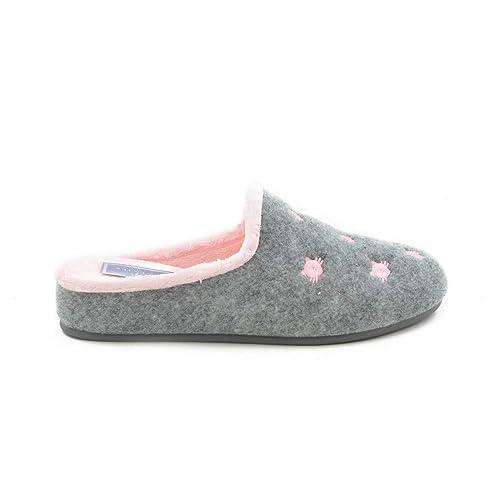 Zapatilla de Estar por casa Gatos Combi Rosa-Gris: Amazon.es: Zapatos y complementos