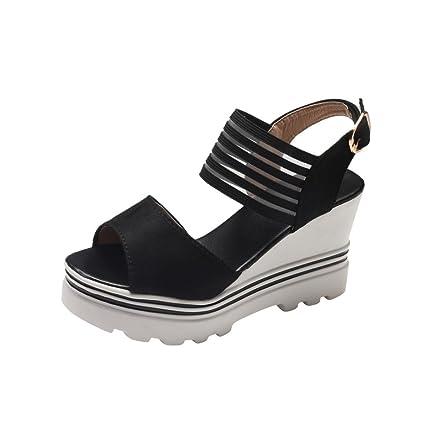 d273d2e5d Womens Platform High Heels Wedge Sandals Leather Ankle Buckle Slope