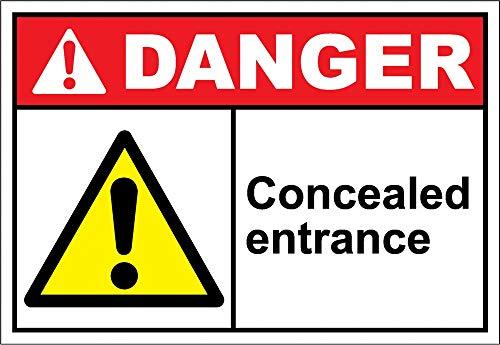 Yilooom Concealed Entrance Warning Sticker Sign Vinyl Label Alert Decal Sticker 7 X 10 Inch