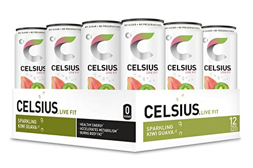CELSIUS Sparkling Kiwi Guava Fitness Drink, ZERO Sugar, 12oz. Slim Can, 12 Pack ()